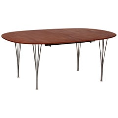Piet Hein & Bruno Mathsson Super Ellipse Table Extension of Oiled Mahogany, 1993