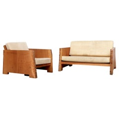 Piet Hein Eek Live Edge Natural Wood Loveseat