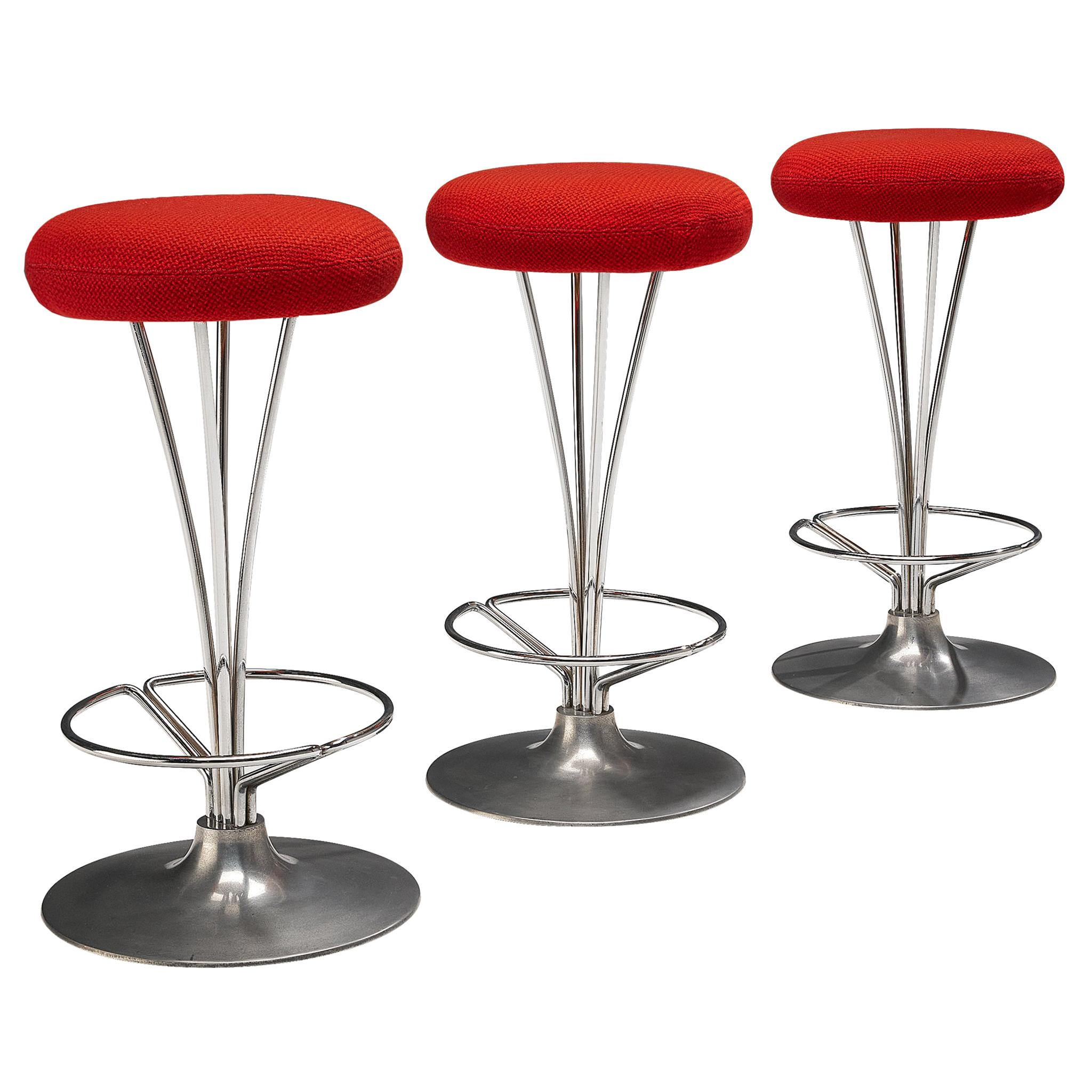 Piet Hein for Fritz Hansen Set of Three Metal Bar Stools with Red Seats