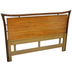 Piet Hein Walnut and Brass Full Size Headboard