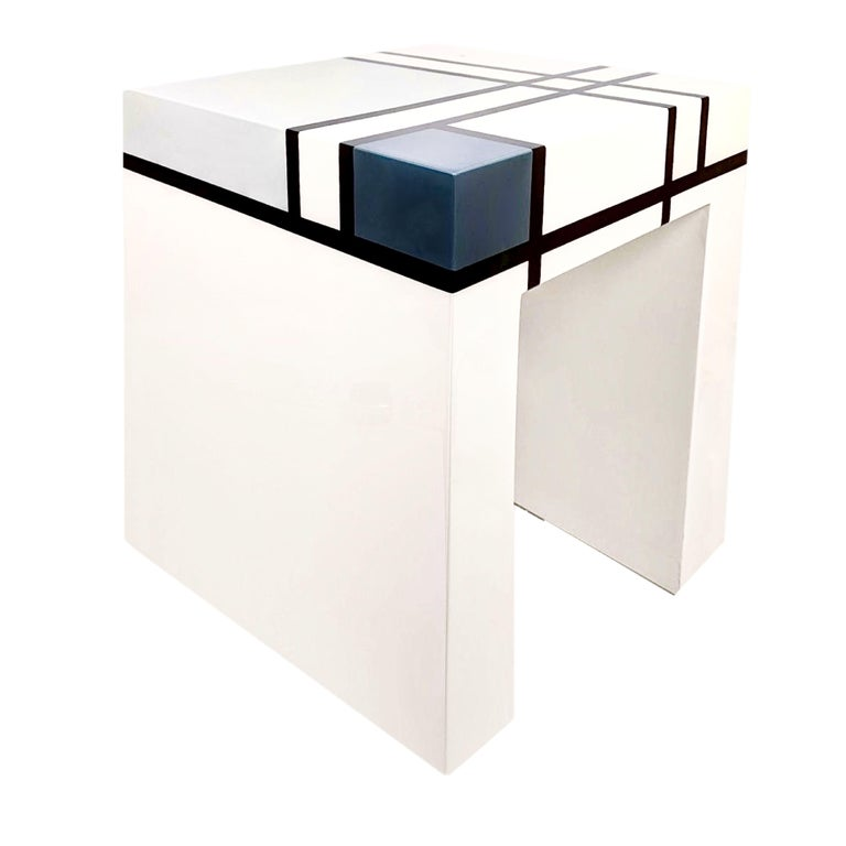 Mondrian Limited Edition Hand-Lacquered Cube Table, Barneys New York, 2007 For Sale 1