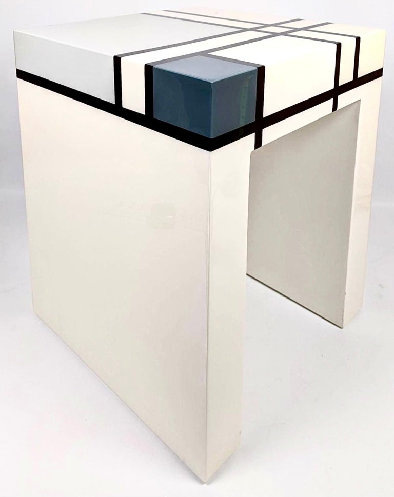Piet Mondrian limited edition hand-lacquered cube table, Barneys, 2007. Piet Mondrian Holtzman Trust in conjunction with Barney's New York and Pacific Connections limited edition cube side table. Produced and available for a short period in