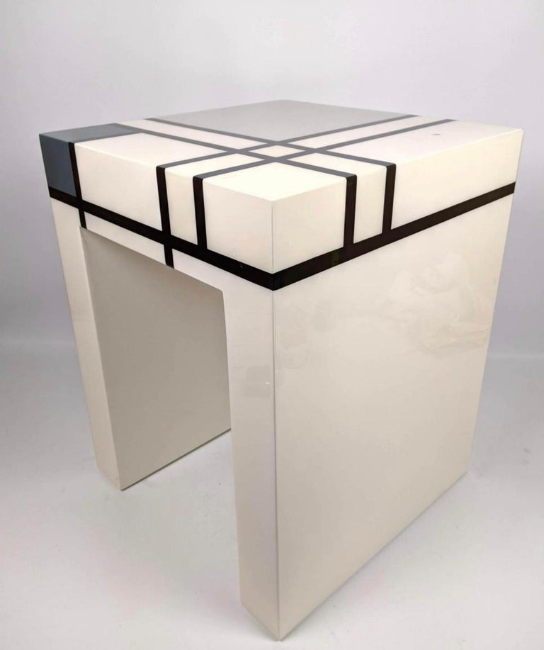 Mid-Century Modern Mondrian Limited Edition Hand-Lacquered Cube Table, Barneys New York, 2007 For Sale