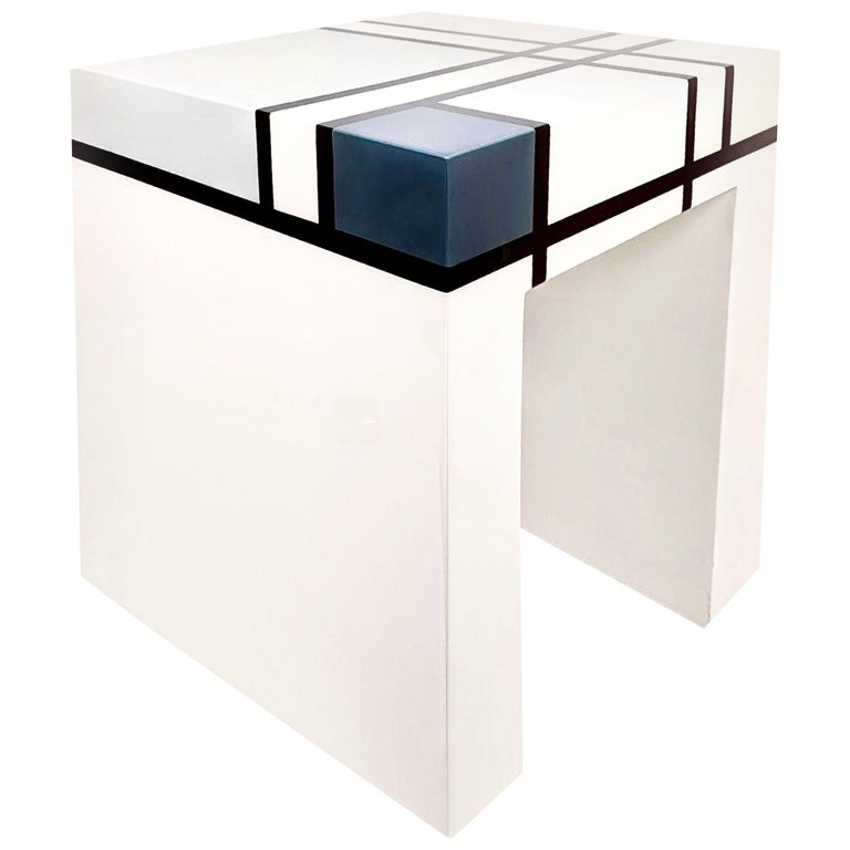 Mondrian Limited Edition Hand-Lacquered Cube Table, Barneys New York, 2007 For Sale