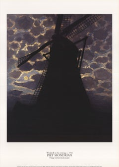 1996 After Piet Mondrian 'Windmill at Night' Modernism Black,Gray Lithograph