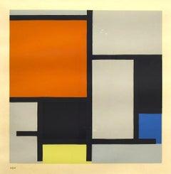 Composition - Original Screen Print After P. Mondrian - 1953
