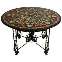 Pieta Dura Inlaid Stone and Wrought Iron Garden or Center Table, Italian 1930s