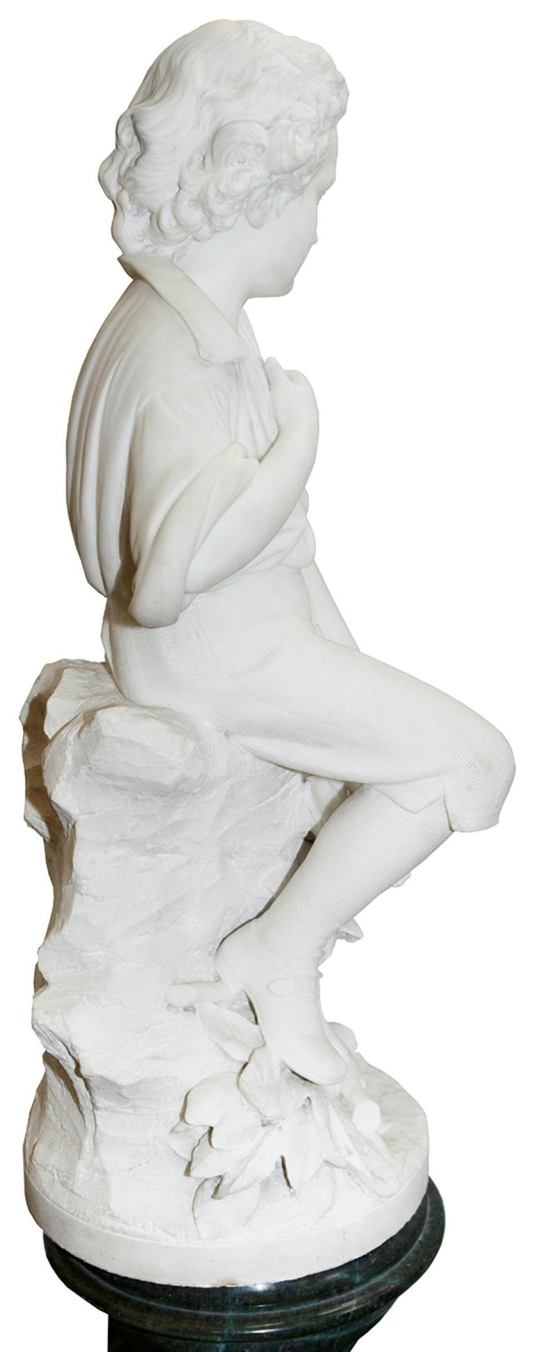 Italian Pieter Barranti Italy, 19th Century Marble Statue of Young Woodman For Sale
