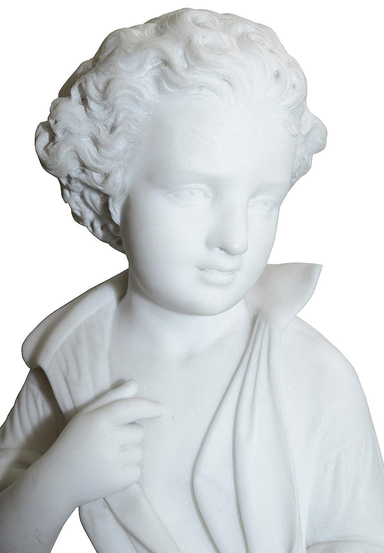 Carved Pieter Barranti Italy, 19th Century Marble Statue of Young Woodman For Sale