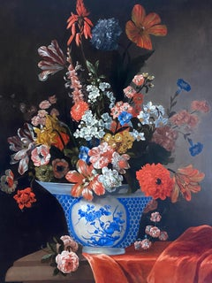 18th Century Dutch Floral Still Life With a Chinese Bowl and Orange Drapery