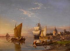 """Oil painting by Pieter Cornelis Dommersen """"Hoorn on the Juiderzee"""""""