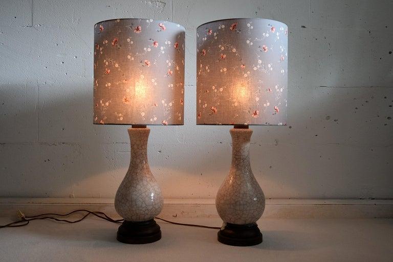 Pieter Groeneveldt Rare Craquelé Ceramic Pair of Mid-Century Modern Table Lamps  For Sale 6