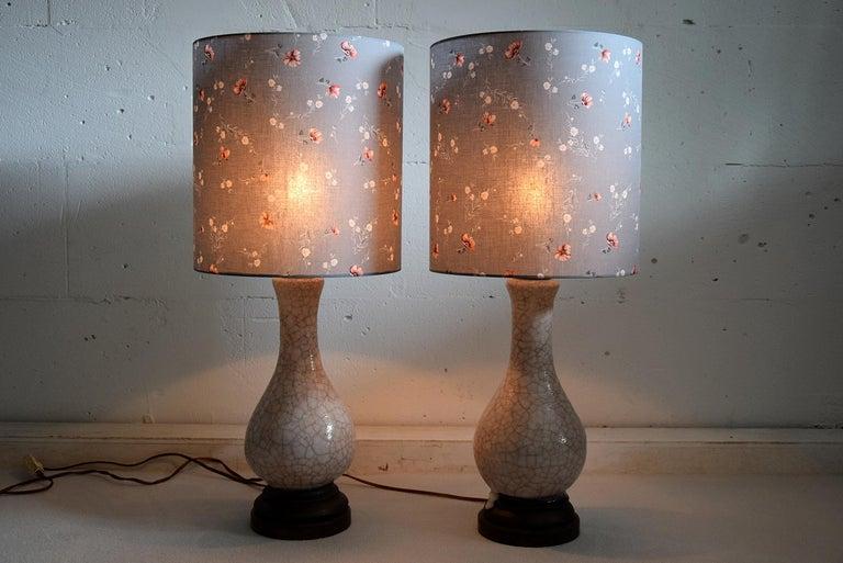 Mid-20th Century Pieter Groeneveldt Rare Craquelé Ceramic Pair of Mid-Century Modern Table Lamps  For Sale