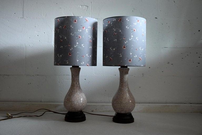 Pieter Groeneveldt Rare Craquelé Ceramic Pair of Mid-Century Modern Table Lamps  For Sale 3