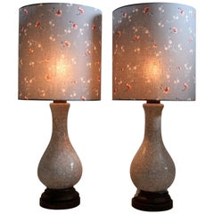 Pieter Groeneveldt Rare Craquelé Ceramic Pair of Mid-Century Modern Table Lamps