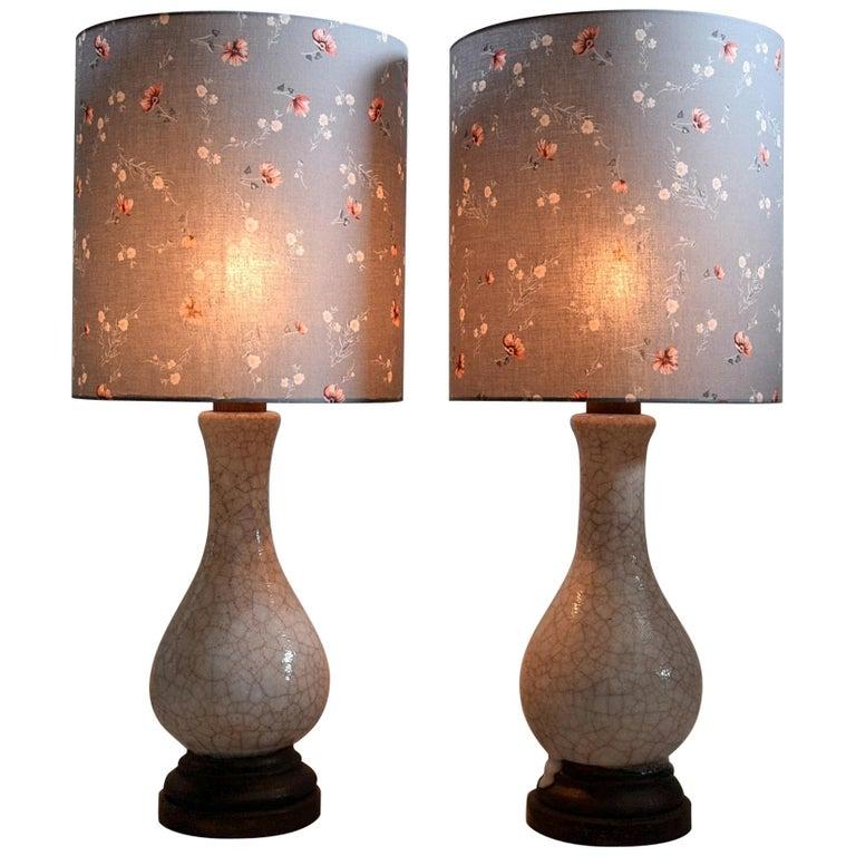 Pieter Groeneveldt Rare Craquelé Ceramic Pair of Mid-Century Modern Table Lamps  For Sale