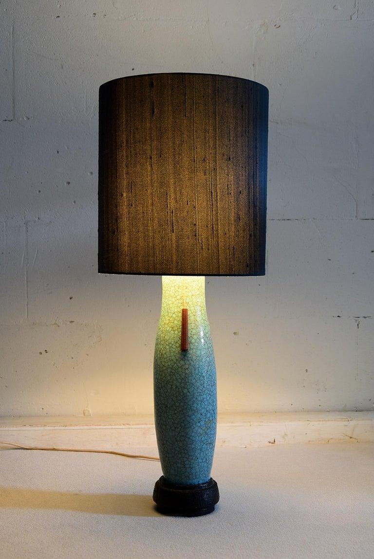 Mid-Century Modern Pieter Groeneveldt Rare Craquelé Ceramic Table Lamp Midcentury For Sale