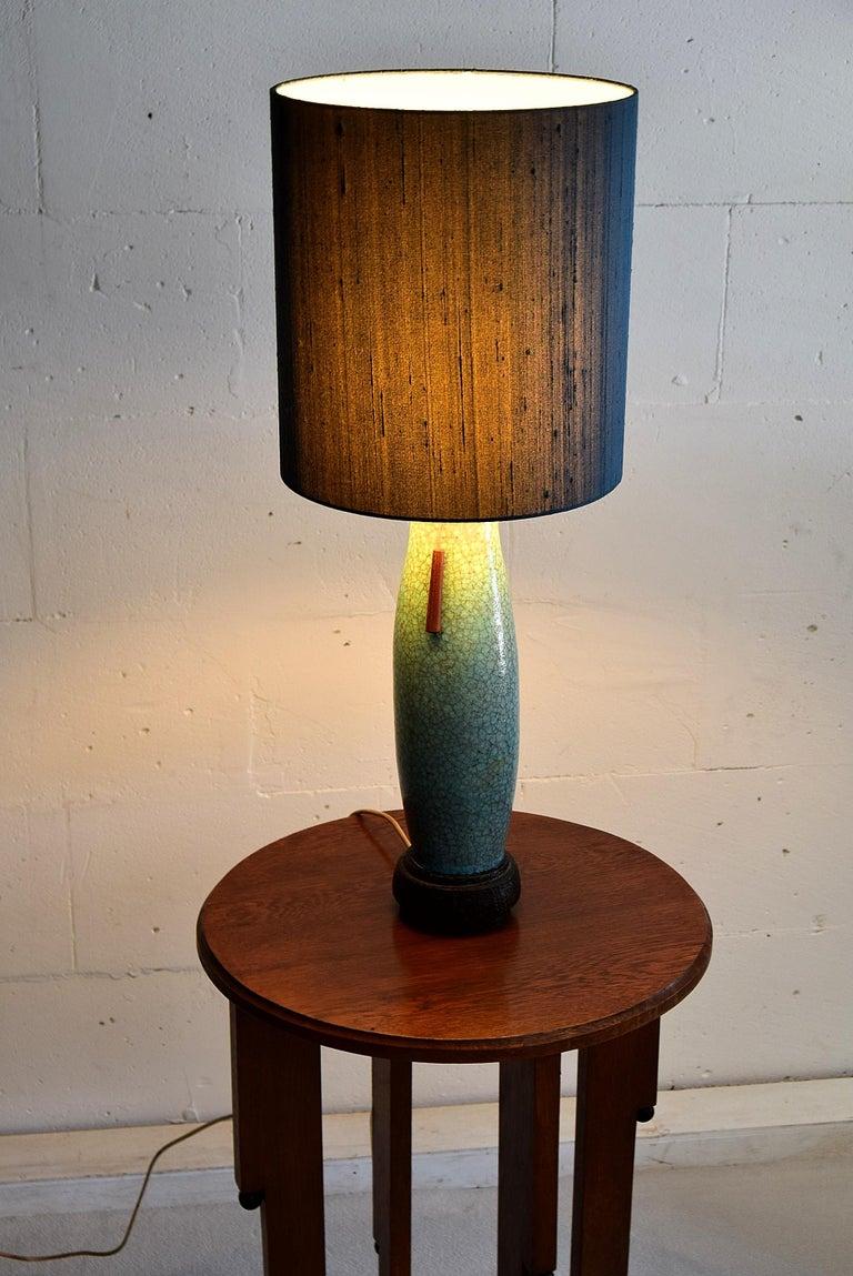 Pieter Groeneveldt Rare Craquelé Ceramic Table Lamp Midcentury For Sale 2