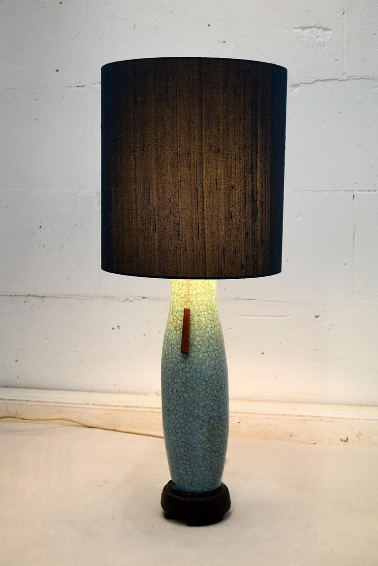 Pieter Groeneveldt Rare Craquelé Ceramic Table Lamp Midcentury For Sale 3