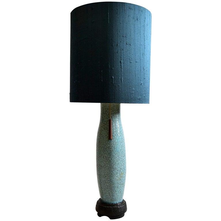 Pieter Groeneveldt Rare Craquelé Ceramic Table Lamp Midcentury For Sale
