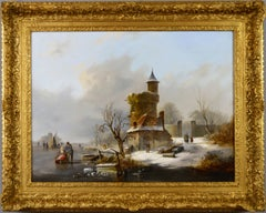 19th Century landscape oil painting of skating in winter