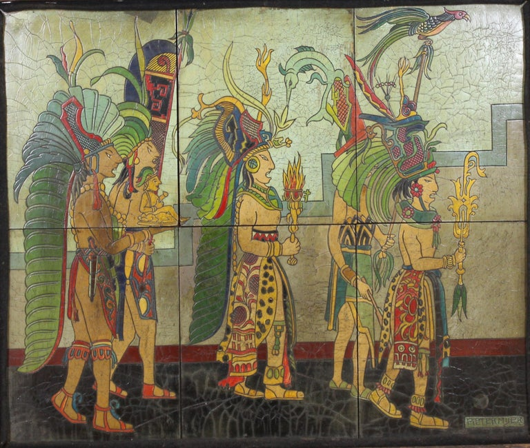 Mexican Art Deco period depiction of a Mayan procession, created in lacquered and carved wooden panels, assembled and framed in original wooden frame. The piece was made by Pieter Mijer and is signed in the lower right corner. The piece depicts a