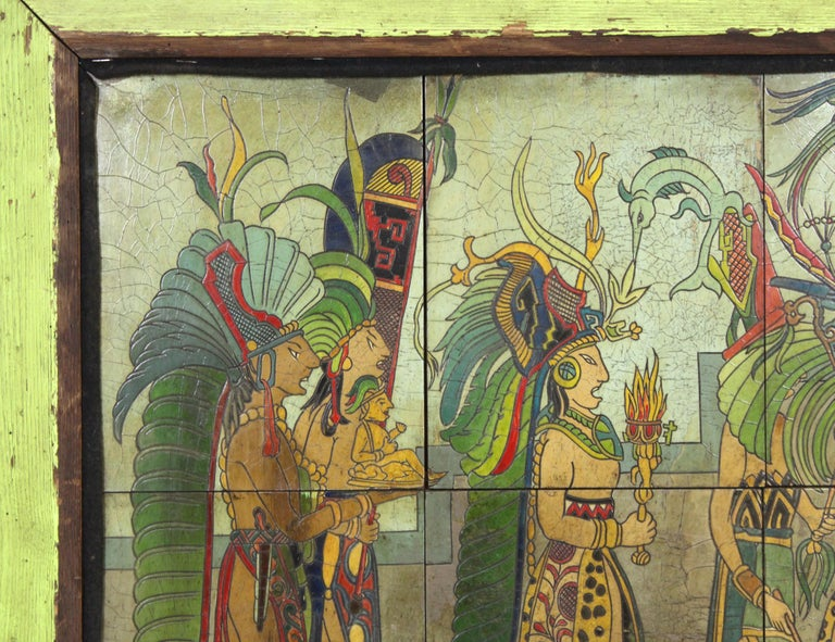 Mexican Pieter Mijer Art Deco Mayan Procession on Lacquered Carved Wood Panels For Sale
