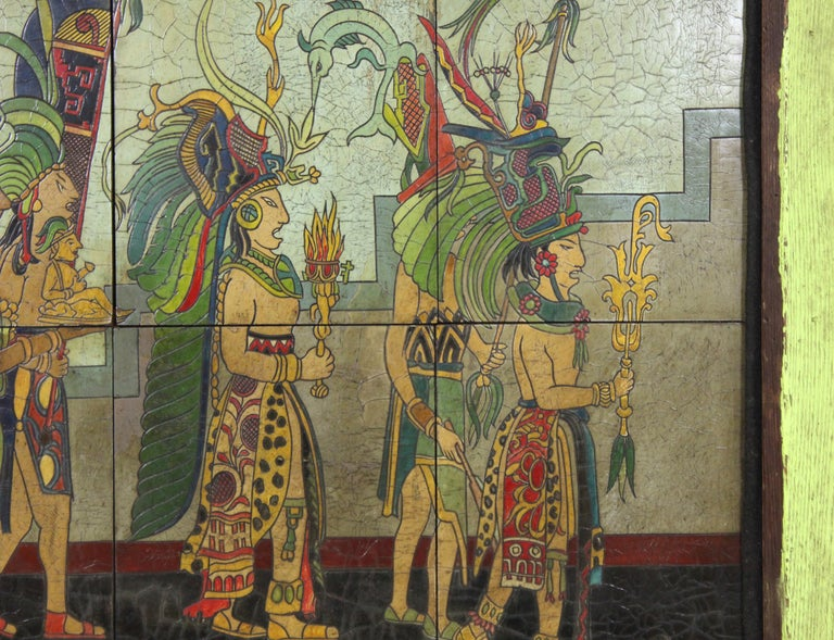 Pieter Mijer Art Deco Mayan Procession on Lacquered Carved Wood Panels In Good Condition For Sale In New York, NY