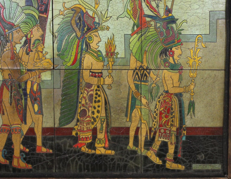 Pieter Mijer Art Deco Mayan Procession on Lacquered Carved Wood Panels For Sale 1