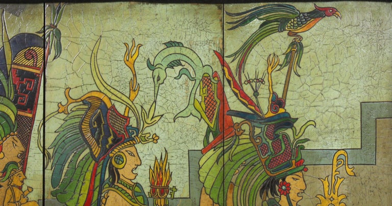 Pieter Mijer Art Deco Mayan Procession on Lacquered Carved Wood Panels For Sale 2