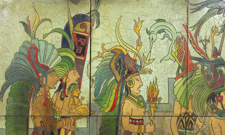 Pieter Mijer Art Deco Mayan Procession on Lacquered Carved Wood Panels For Sale 3