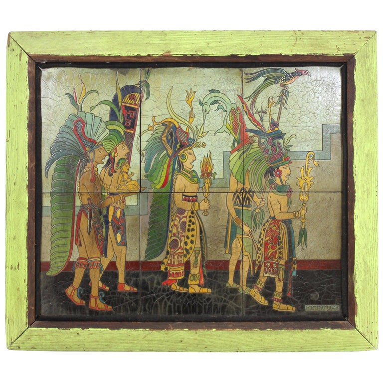 Pieter Mijer Art Deco Mayan Procession on Lacquered Carved Wood Panels For Sale