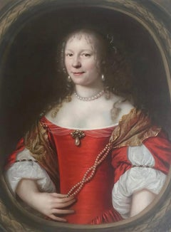 Dutch, 17th century portrait of a Lady in Red with Pearls