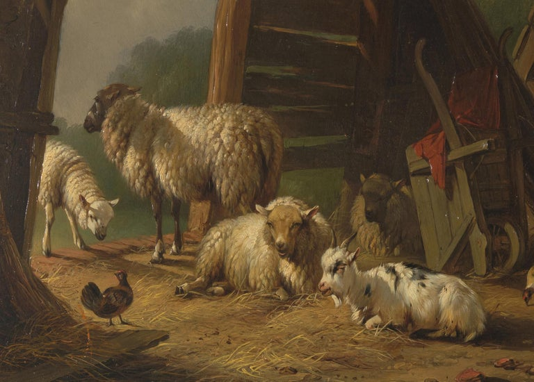 Dutch Pieter Plas, Sheepstable, Oil on Canvas, Framed and Signed For Sale