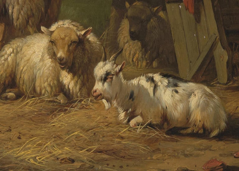 Pieter Plas, Sheepstable, Oil on Canvas, Framed and Signed In Good Condition For Sale In Leuven , BE