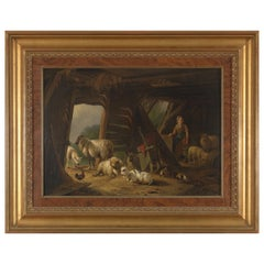 Pieter Plas, Sheepstable, Oil on Canvas, Framed and Signed