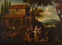 The Harvest Paint Oil on canvas 17th Century Italy Flamish Quality Landscape