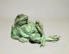 Marinus Bronze Sculpture Green Frog In Stock