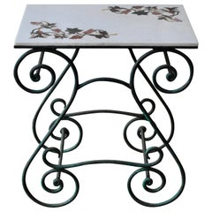 Pietra Dura Center Table Inlaid Grape Decorations Marble Top