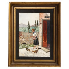 Pietra Dura Depicting a Woman Feeding Chickens