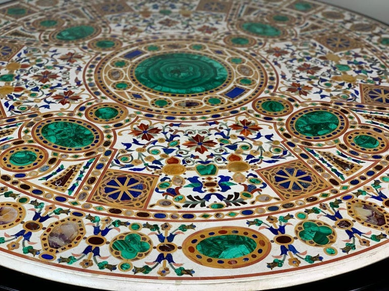 Pietra Dura Empire table. Malachite, amethyst, lapis lazuli, citrine and sienna marble inlaid in white marble. Wood is Tineo.