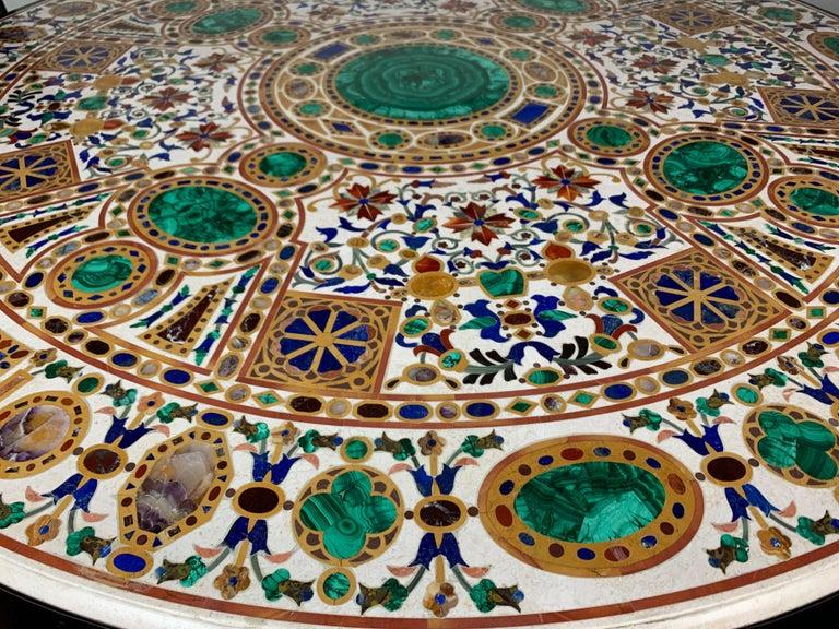 Pietra Dura Empire Table In Excellent Condition For Sale In Los Angeles, CA