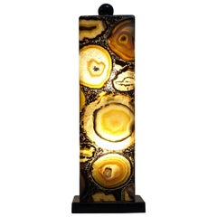 """""""Pietra Dura"""" Glass and Agate Italian Table Lamp"""