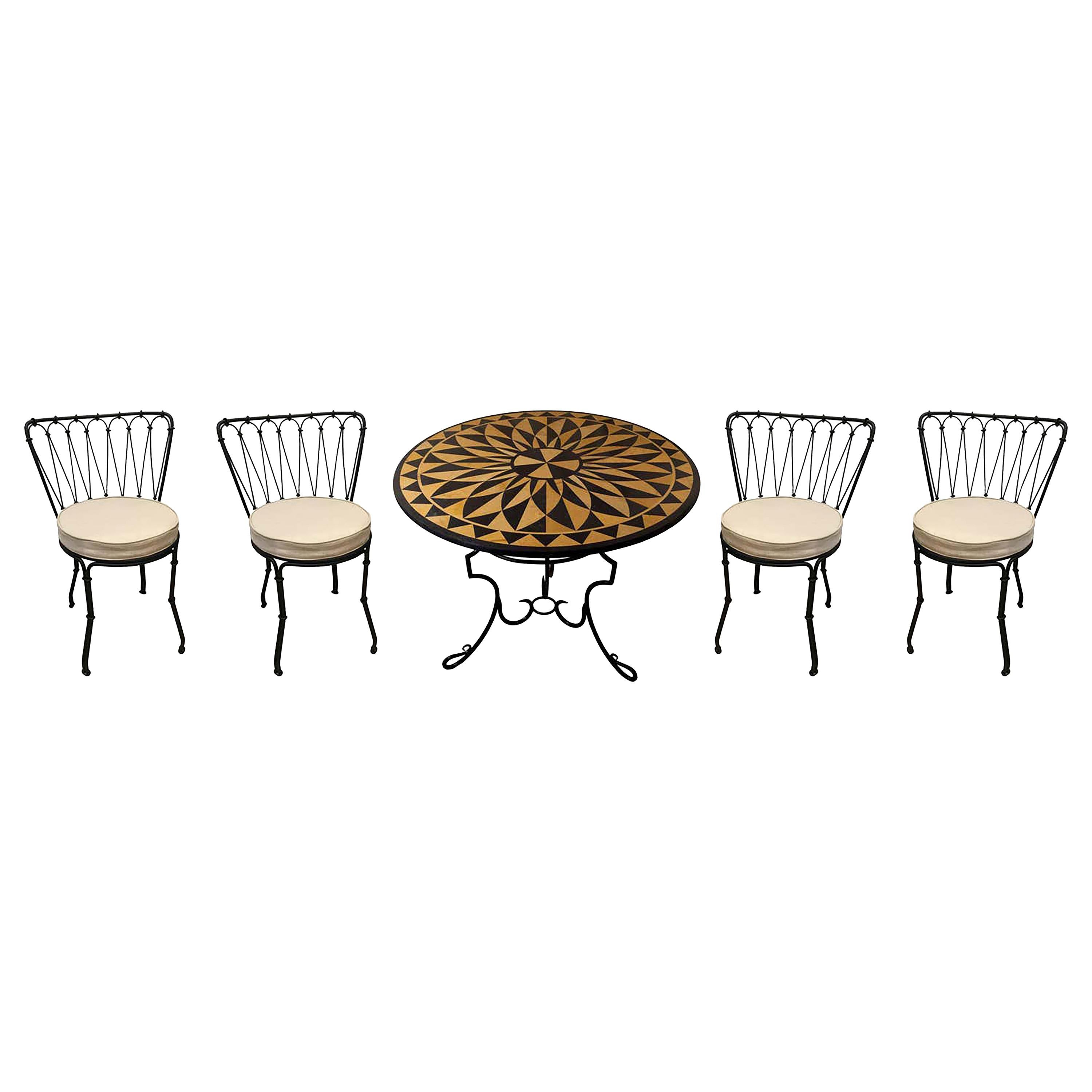 Pietra Dura Marble and Jasper Inlay Outdoor Table on Iron Base w/ 4 Iron Chairs