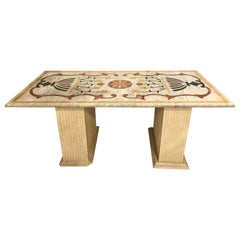 Pietra Dura Marble-Top Center or Dining Table on Marble Base