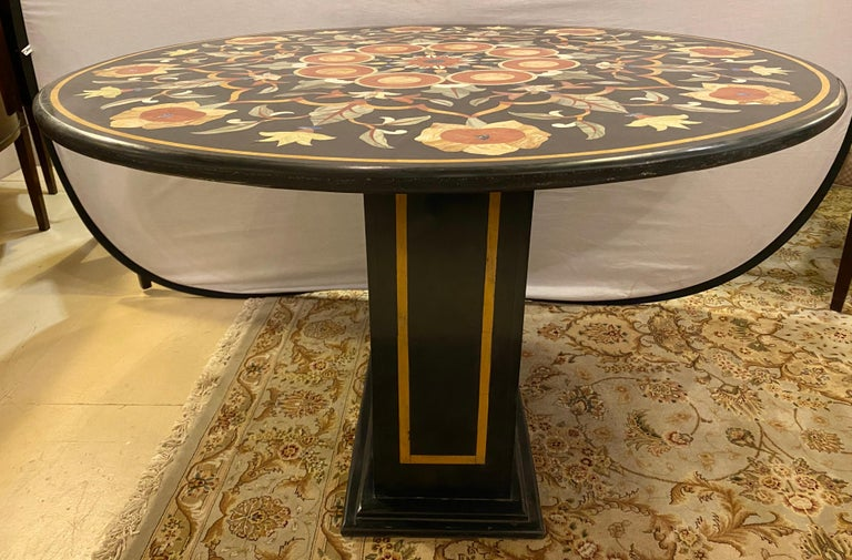 Arts and Crafts Pietra Dura Marble-Top Dining or Center Table, Arts & Crafts Movement For Sale