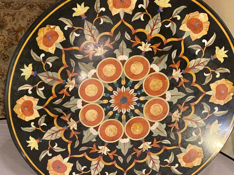 Pietra Dura Marble-Top Dining or Center Table, Arts & Crafts Movement In Good Condition For Sale In Stamford, CT