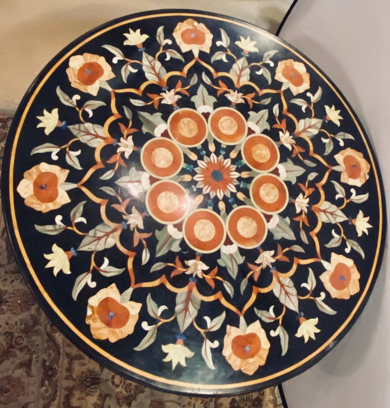Mid-20th Century Pietra Dura Marble-Top Dining or Center Table, Arts & Crafts Movement For Sale