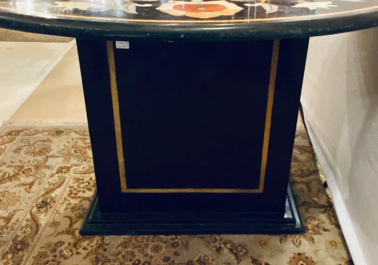 Pietra Dura Marble-Top Dining or Center Table, Arts & Crafts Movement For Sale 2