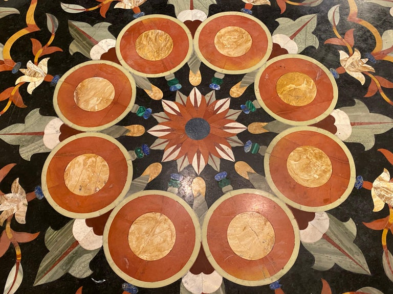 Pietra Dura Marble-Top Dining or Center Table, Arts & Crafts Movement For Sale 3
